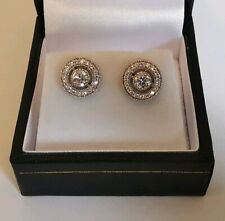 DIAMOND HALO EARRINGS 18ct 750 WHITE GOLD butterfly studs 9mm round hallmarked
