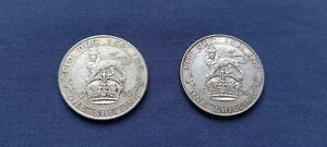 1923 / 1926 ONE SHILLING 1/-s .500 SILVER BETTER GRADE 2 COINS
