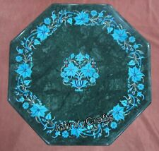 12 Inches Marble Coffee Table Top Hand Inlaid End Table with Turquoise Stone Art