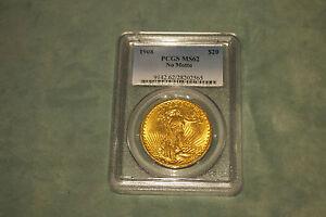NO MOTTO 1 PCGS  MS62 SAINT GAUDENS $20 GOLD COINS