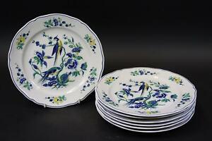 7x Speiseteller Porzellan Vogeldekor Phoenix Blau Villeroy & Boch (DM707)