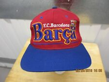 "VINTAGE FC BARCELONA ""BARCA"" XL RED/BLUE SEWN SNAPBACK CAP/HAT LA LIGA UEFA"