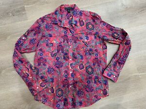 Ralph Lauren Jeans Co Pink Paisley Print Button Front Blouse Shirt Top Medium