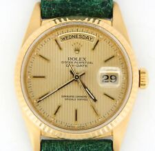 Mens Rolex Day-Date President 18K Yellow Gold Watch Tapestry Dial Green 18238