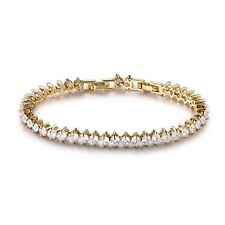 "8.2"" White Round Simulated Diamond Tennis Bracelet 18K Gold Filled Jewelry 14.1g"