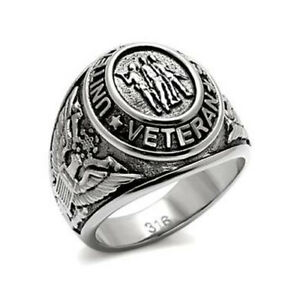 MEN'S STAINLESS STEEL USA MILITARY VETERAN SOLDIER RING - SIZE 8 -13