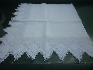 antique linen tablecloth embroidery and lace hand made