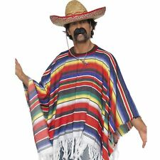 Adult Mexican Poncho Western Bandit Cowboy Fancy Dress Costume Outfit