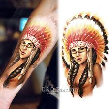 Indian Chief Colors Big Arm Leg Body Art Waterproof Temporary Tattoo Sticker H6