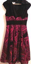 KAY UNGER Black/Magenta Cott/Silk Lined Bead/Stud Cocktail/Evening Dress SIZE 2