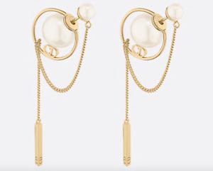 NIB Christian Dior Tribales Orbital Pearl CD Logo Chain Stud Bar Drop Earrings
