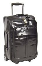 Genuine Leather Cabin Suitcase Hand Luggage Business Bag on Wheels Black