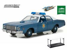 DIECAST CAR & LED CASE 1975 PLYMOUTH FURY POLICE SMOKEY & BANDIT GREENLIGHT 1/18