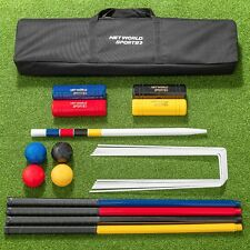4 Person Croquet Set – Outdoor Garden Game - 4 Mallets, Balls & 6 Hoops