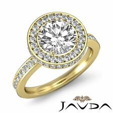 Brilliant Round Cut Diamond Engagement Halo Ring GIA F VS1 18k Yellow Gold 2.3ct