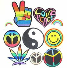 Peace Symbol Iron On Patch- Hippy Yin Yang Gay Rainbow Smiley Love Sew Badge