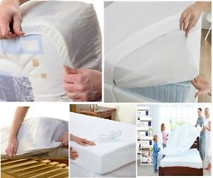 Single, Double And King Size Waterproof Fitted Mattress Protector Sheet Vinyl