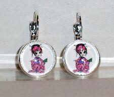 Ohrringe Geisha Japan Damen Hänger Ohrschmuck Modeschmuck Leverback Glas