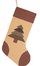 Sequoia Tree Christmas Stocking Cream Ditsy Star Cotton Frayed Green Patchwork
