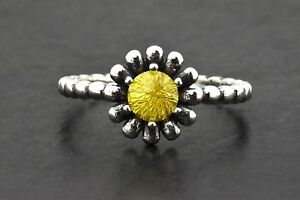 925 Sterling Silver Stackable Yellow Citrine Daisy Floral Flower Solitaire Ring