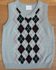 Hanna Andersson ARGYLE SWEATER VEST sz 5 6 110 Gray Red