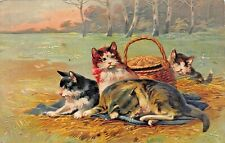 CATS & KITTENS ON BLANKET WITH PICNIC BASKET~EMBOSSED 1910s POSTCARD