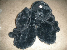 Charming Charlie's black fuzzy faux fur slipper boots with ties NWT M 7/8