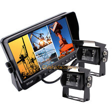 """CCD Rear View Backup Camera System 7"""" Quad Split Screen Monitor Kit For Truck"""