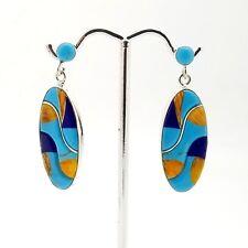New Sterling Silver 925 Oval Turquoise & Lapis Lazuli 42'mm Drop Dangle Earrings