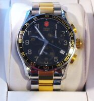 Victorinox Swiss Army Men's Chrono Classic 40MM Black Dial Watch, Gold Two-Tone