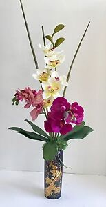 Silk Purple and White Orchids Floral Arrangement with Bamboo Shoots