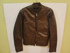 VINTAGE 70'S BROOKS DETROIT BROWN LEATHER CAFE RACER MOTORCYCLE JACKET 38