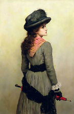 Hand painted Oil painting nice young noblelady holding umbrella with black hat