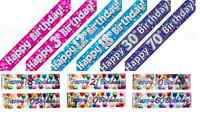 Holographic Foil Birthday Banners 1-18,21,30,40,50,60,65,70,80,90,100  Pink Blue