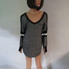 Victoria's Secret Cotton Side Pocket Double V Sweater Top Shirt BlackWhite XS
