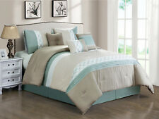 7-Pc Llyr Clamshell Circle Star Comforter Set Taupe Beige Mint White Queen