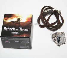 NEW Attack on Titan Scout  Regiment Shield Logo Metal Class Ring Necklace SIZE 7