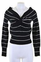 MAX MARA Womens V-Neck Jumper Sweater Size 12 Medium Black Striped Wool  KS02