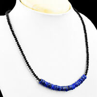 70.00 Cts Natural Lapis Lazuli & Black Spinel Faceted Beads Necklace NK 04E60