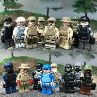 16 ARMY SWAT POLICE Military Mini figures Weapon Army SS Soldier Fit Lego Toys