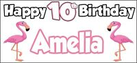 Flamingo Themed Personalised Birthday Banner x 2 Party Decorations - NAME & AGE