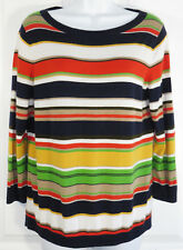 Talbots Striped Pullover Sweater Size LP Womens Petite Thin Knit Cotton Blend