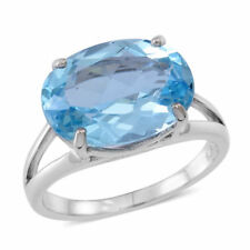 AAA Rare Size Sky Blue Topaz Ring in Rhodium Plated Sterling Silver 11.50 sz L