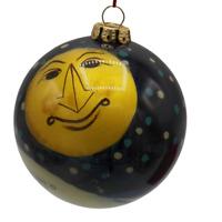 Susan Zulauf Reverse Painted Christmas Ornament Figi Inside Art Snowman Moon 99