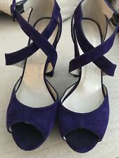 Karen Millen Purple Suede Peep Toe Strappy Sandals Size 5