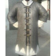 9 mm Flat Rivited With Warser  Large Size Mediveal Armour Chainmail Shirt Oiled