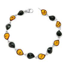 Whitby Jet Sterling Silver Baltic Amber Bracelet