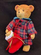 """Vintage Russ Teddy Bear Figure Movable Head Limbs Christmas Outfit 4 3/4"""" Tall"""