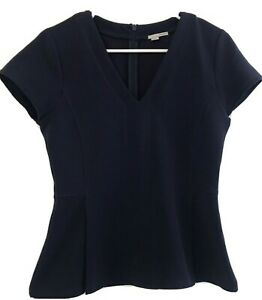 Women's Halogen Short Sleeve Blouse Top Size Small Ribbed Structured Career Blue