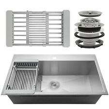 "30"" x 18"" x 9"" Stainless Steel Top Mount Kitchen Sink Single Basin w/ Tray Kit"